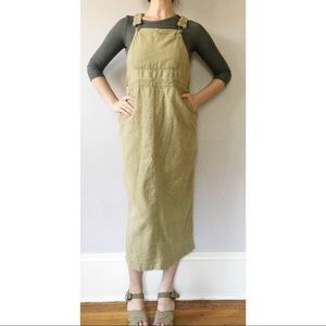 Vintage 90s Olive Green Linen Overall Dress S